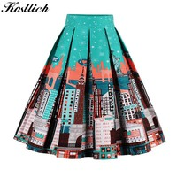 Kostlich 18 Style Retro Print Flower Summer Skirts Womens  High Waist Vintage Skirt Elegant A-Line Midi Women Skirt S-XXL