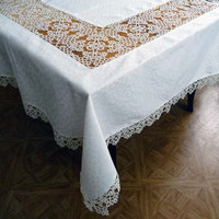 Handmade large tablecloth and 12 napkins with lace by ShopGift
