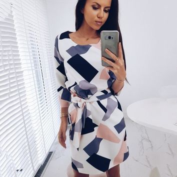 2018 Geometric Printed Sashes Pockets Autumn Dress Woman Three Quarter Sleeves O-Neck Fall Casual Loose Straight Mini Dresses
