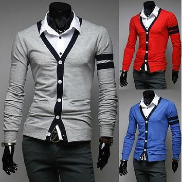 2014 new men's color long sleeve cardigan sweater all-match bright self splicing