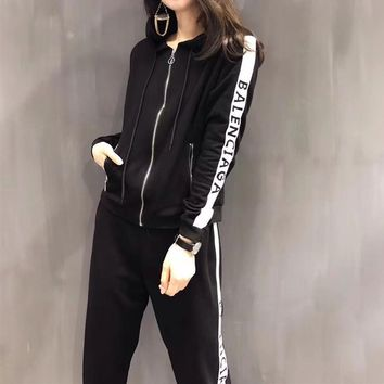 balenciaga women casual letter multicolor stripe zip hooded long sleeve cardigan trousers set two piece sportswear 2