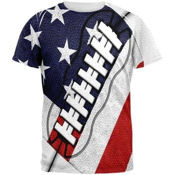 DCCKU3R 4th of July American Flag Patriot Football All Over Mens T Shirt