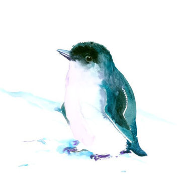Cute Penguin painting, Original watercolor one of akind art, 12 X 9 in indigo blue wall art nursery painting