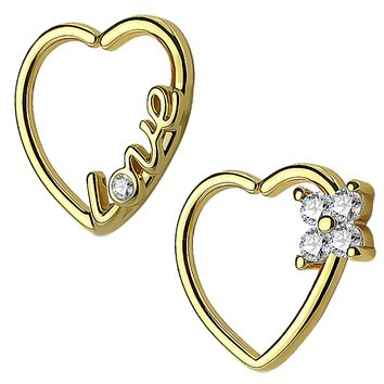 BodyJ4You 2PCS 16G (1.2mm) Daith Earring Piercing Heart Clear CZ Goldtone Helix Cartilage Hoop Set