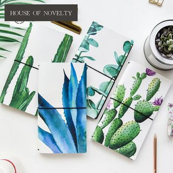 Creative Cactus Plants PU Leather Cover Planner Notebook Diary Book Exercise Composition Binding Note Notepad Gift Stationery