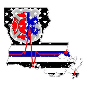 Louisiana First Responder Thin Blue Line Flag Decal Sticker