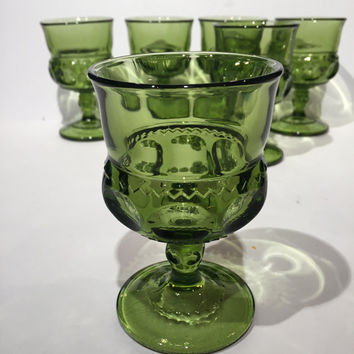 Green Kings Crown Goblets Set of 6, Indiana Glass Green Thumbprint or Kings Crown Goblets, Vintage Kings Crown or Thumbprint Wine Glasses