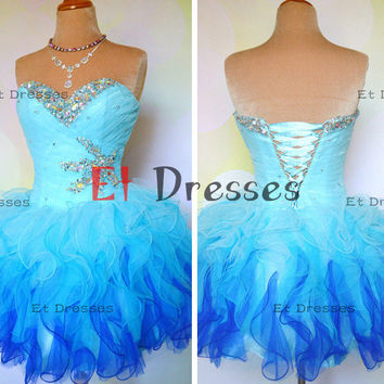 Light blue and deep blue organza tiered bottom with crystal and sequins homecoming dress ,evening dress ,prom dress,cocktail dress