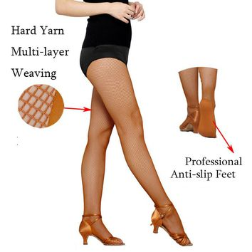 Special for the competition Women Professional Fishnet Tights For Ballroom&Latin Dance Hard Yarn Elastic Latin Dance stockings