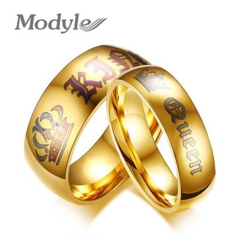 Modyle New Wedding Rings for Women Men Her King and His Queen Stainless Steel Couple Ring Promise Engagement Wedding Jewelry