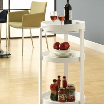 White Bar Cart with a Serving Tray On Castors