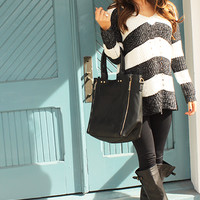In The Lines Sweater: Black/White