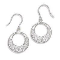 Circle Filigree Design French Wire Earrings