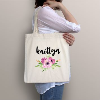 Personalized Floral Tote Bag - Perfect for Bridesmaids and Special Gifts