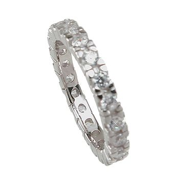 Plutus Brands 925 Sterling Silver Eternity Wedding Band 1 Carat Weight - Size 9