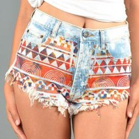 Denim Aztec Print Shorts