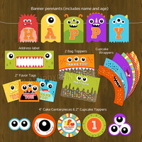 Monster Party Monster Bash Printable Package Birthday Party Complete Set - Little Monsters Invitation, banner, photo booth props