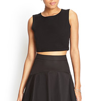 FOREVER 21 Seam-Stitched Skater Skirt Black