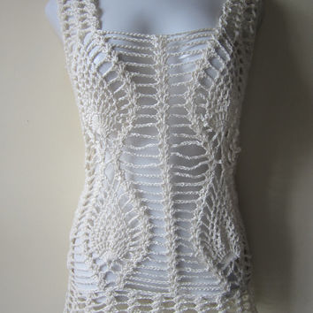 Crochet dress, offwhite tunic dress, beach cover up, festival dress, summer dress, Boho