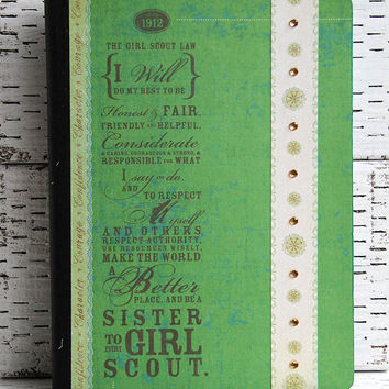 Girl Scouts Journal, Green Notebook, Altered Composition Book, Troop Planner, Gold Award Reports, Girl Scout Law, Gift for Teen Girls