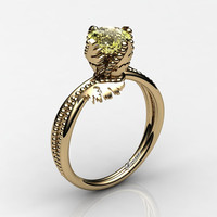 Swan 14K Yellow Gold 1.0 Ct Yellow Topaz Fairy Engagement Ring R1029-14KYGYT