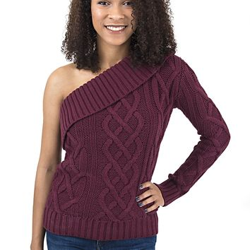 Women's One Shoulder Cable Knit Sweater