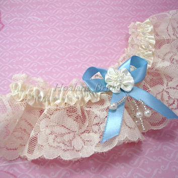Ivory Lace Garter, Wedding/Prom garter with blue ribbon bow