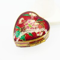Hinged Red Cloisonne Heart Trinket Box, Blue Enamel Inside the Gold tone Metal Accent Vintage 1960s 1970s Hinged Pill Box or Decoration