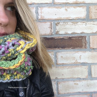 Handmade Crocheted Multi Colored Chunky Cowl Scarf in Variegated Blue Green Yellow Gray, Infinity Scarf, Neckwarmer, Boho Scarf Chunky Yarn,