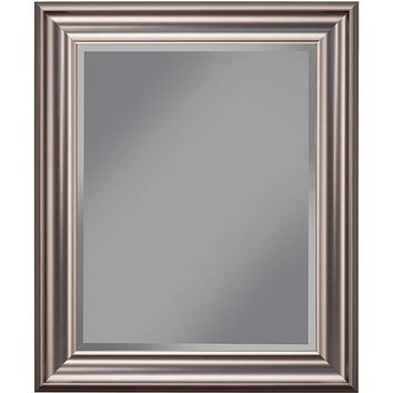 Polystyrene Framed Wall Mirror With Beveled Glass, Silver-14317