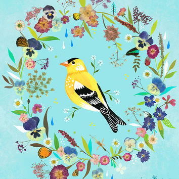 Goldfinch Meadow - vertical print