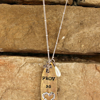 Proverbs 3:5 Necklace, Gold