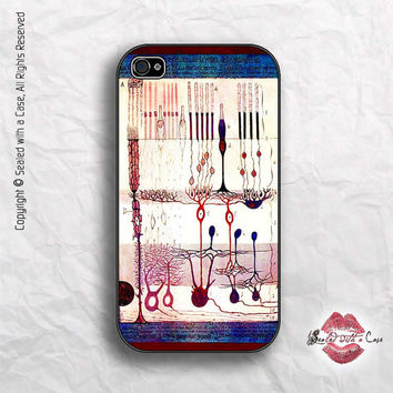 Santiago Ramon y Cajal Vintage Illustration - Structure of the Mammalian Retina  - iPhone 4 Case, iPhone 4s Case and iPhone 5 case