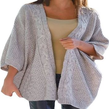 Grey Patchwork V-neck 3/4 Sleeve Casual Cardigan Sweater