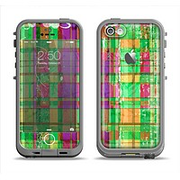 The Purple and Green Plad with Floral Pattern Apple iPhone 5c LifeProof Fre Case Skin Set