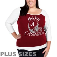 Alabama Crimson Tide Ladies Plus Sizes Raglan Three-Quarter Sleeve T-Shirt - Crimson/White