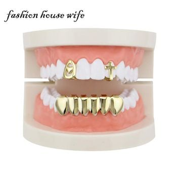Fashion House Wife Hip Hop Gold Teeth Grillz Dental Single Heart Cross Shaped Tooth Caps Custome Fit Teeth Jewelry Party LD0110