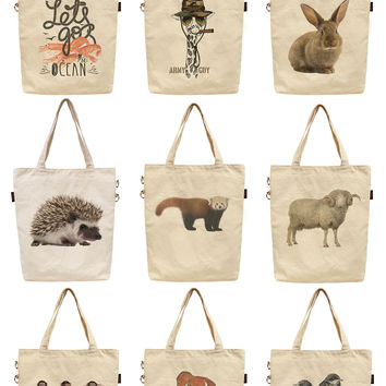 Women Funny Animal Printed Canvas Tote Shoulder Bag WAS_40
