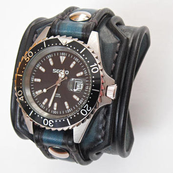Blue Leather Watch, Blue Watch, Turqoise Watch, Men's Leather Watch, Unique Watch,