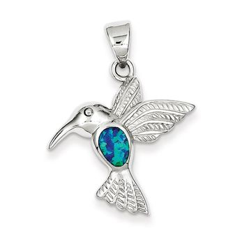 Sterling Silver and Created Blue Opal Inlay Hummingbird Pendant