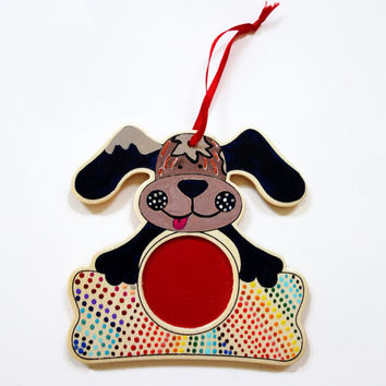 Hand Painted Rainbow Dog Ornament with photo slot