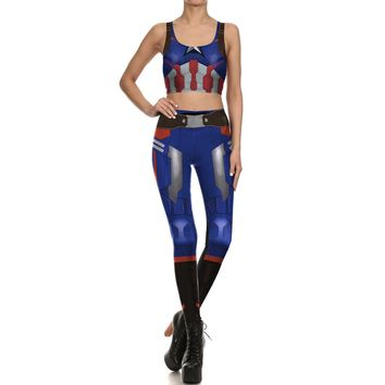 Cosplay Pattern Sports Suit Sleeveless Vest Running Pants Set Game Overwatch Costume Yoga Suits Women