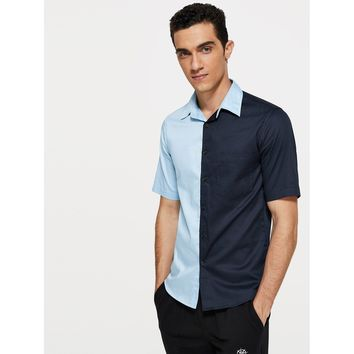 Men Pocket Patched Cut and Sew Shirt