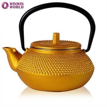 50ml Mini Water Cast Iron Teapot Small Pot 5 Style Christmas Gift For Friends Japannese Old Tea Pot Gold Color Ww Mt014