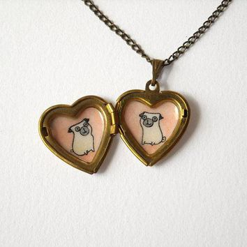 Pugs Heart Locket   Pet Lovers Jewelry   Locket Necklace With Pug Dogs Illustrations