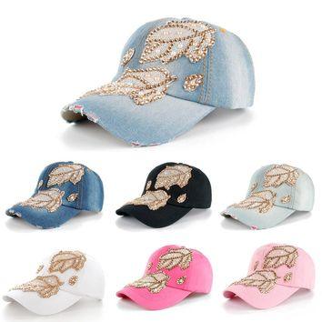 Women's Denim Snapback Rhinestone Fashion Leaves Baseball Cap