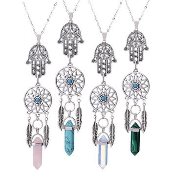 Crystal Malachite  Pendant Antique Silver Color Dreamcatcher Hamsa Hand  Necklaces For Women