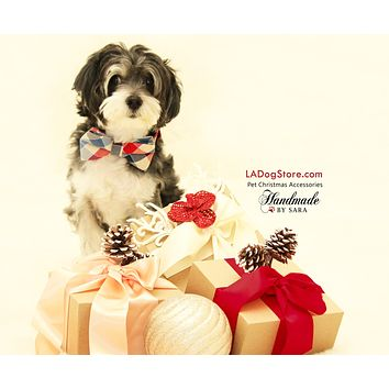 Plaid Dog Bow tie attached to collar, Pet Wedding