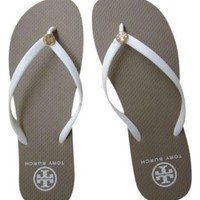 tory burch white flat flip flops beach sandals slippers