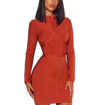 Honey Comb Bandage Long Sleeve Dress
